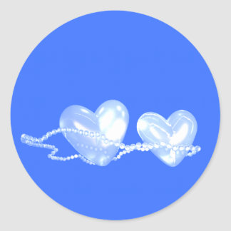 Pearl Hearts on Blue Classic Round Sticker