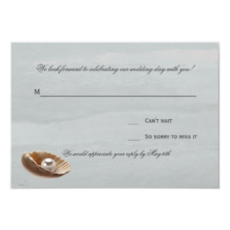 """Pearl in a Shell Response Card 3.5"""" X 5"""" Invitation Card"""