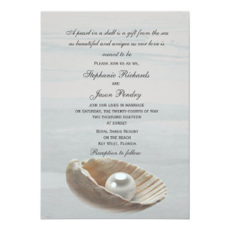 Pearl in a Shell Wedding Invitation