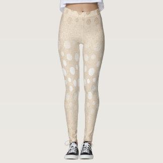 Pearl Ivory Dots Silver Gray Pastel Confetti Glam Leggings