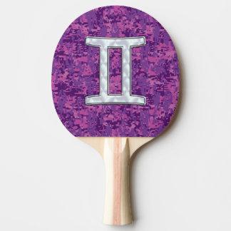 Pearl Like Gemini Zodiac Sign on Digital Camo Ping-Pong Paddle