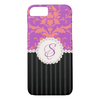 Pearl Monogram Pink and Puple Damask iPhone Case