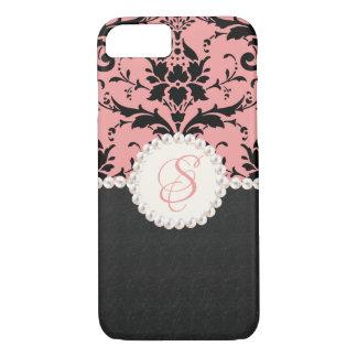 Pearl Monogram Pink Damask iPhone Case