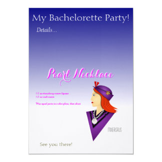"Pearl Necklace Drink Recipe 5"" X 7"" Invitation Card"