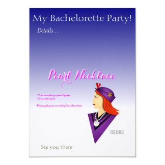 "Pearl Necklace Drink Recipe 5"" X 7"" Invitation Card"