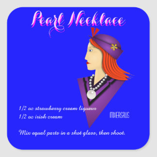 Pearl Necklace Drink Recipe Square Sticker