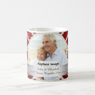 Pearl Red Roses Silver Wedding Anniversary Coffee Mug