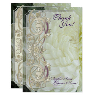 Pearl Scroll & White Chrysanthemum Wed. Thank You Card