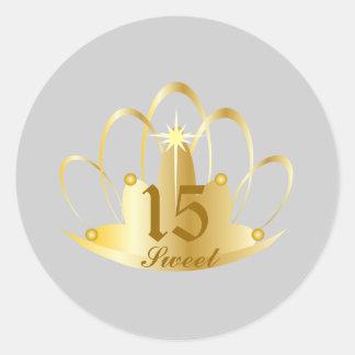 Pearl TIARA, Sweet, 15 Sticker-Customize Round Sticker