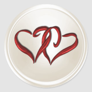 Pearl Two Red Hearts Envelope Seal Round Sticker