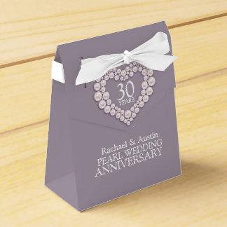 Pearl wedding heart 30 years thank you favor box