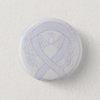 Pearl White Angel Awareness Ribbon Custom Button