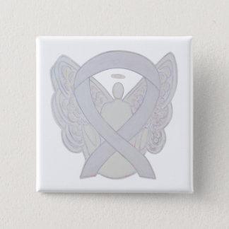 Pearl White Angel Awareness Ribbon Custom Pin
