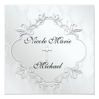 PEARL WHITE  Damask  Invitations Elegant Design