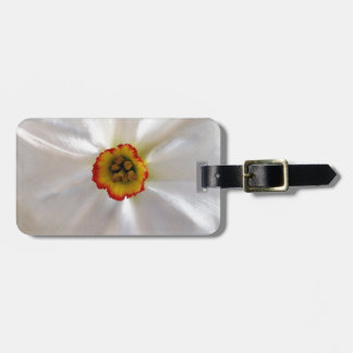 pearl white narcissus luggage tag