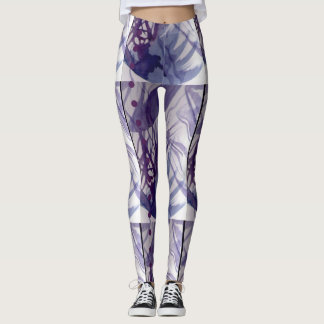 Pearl with ink abstract lines and dots leggings