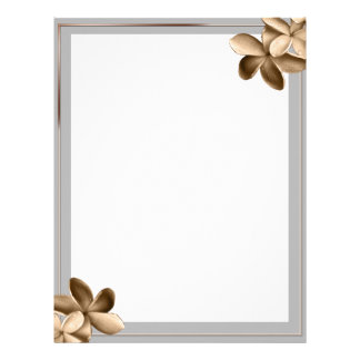 Pearled Grey and Champagne Plumeria Flower Letterhead Template