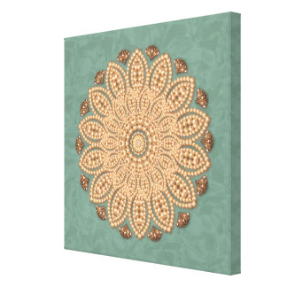 Pearls and Diamonds Mandala on Aqua Canvas