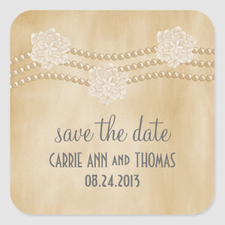 Pearls and Flowers Save the Date Stickers, Beige