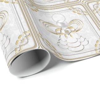 Pearls and Gold - Metallic Christmas Angel of Joy Wrapping Paper