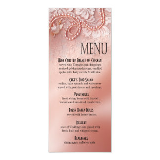 Pearls and Lace Dinner Menu | peony pink Custom Announcements