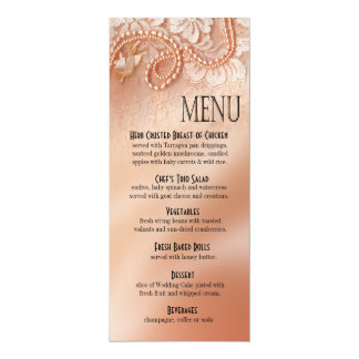 Pearls and Lace Dinner Menu   perfect peach Card