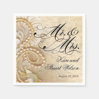 Pearls and Lace Mr. & Mrs. | ivory Disposable Napkins