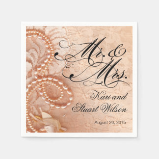 Pearls and Lace Mr. & Mrs. | peach Disposable Napkins
