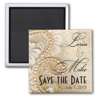 Pearls and Lace Save the Date | eggshell Square Magnet
