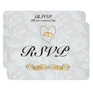 """Pearls and Lace Wedding RSVP Matte 3.5"""" x 5"""" Card"""