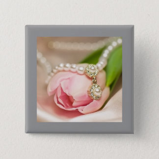 Pearls and Tulip Button