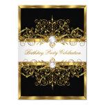 "Pearls Black White Gold Elegant Birthday Party 4.5"" X 6.25"" Invitation Card"