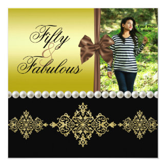 Pearls & Bow Gold & Black Fabulous 50 Photo Womens Card