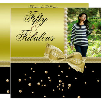 Pearls & Faux Bow Fabulous 50 Photo Women's Card