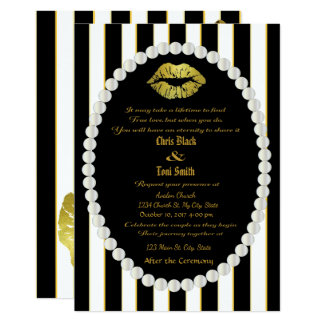 Pearls & Gold Lip Print Striped Wedding Invitation