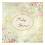 """Pearls & Lace Shabby Chic Roses Baby Shower 5.25"""" Square Invitation Card"""