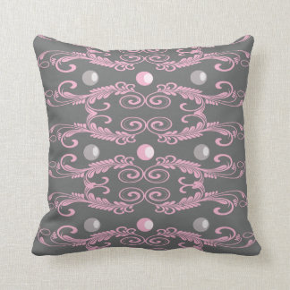 Pearls-pink and grey throw pillow