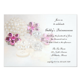 Pearls Pink Diamond Buttons Quinceañera Party Card