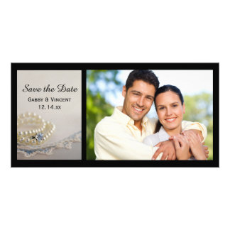 Pearls, Ring and Blue Lace Wedding Save the Date Picture Card