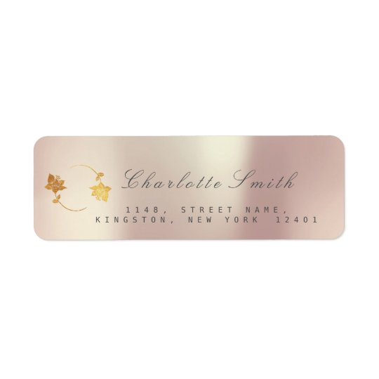 Pearly Champaign Golden Foil Return Address Labels