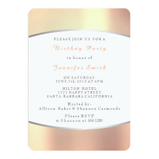Pearly Copper Gold Peach Delicate Birthday Party Card