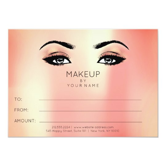 Pearly Coral Gold Makeup Beauty Certificate Gift Card