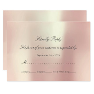 Pearly Peach Blush Personalized RSVP Minimalism Card