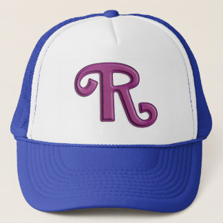 Pearly Purple Letter R Initial Trucker Hat