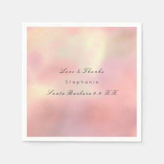 Pearly Rose Gold Ombre Peach Copper Custom Name Paper Napkin