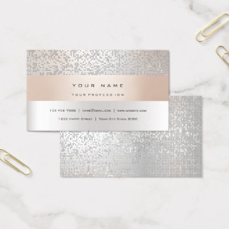 Pearly Titanium Faux Gold Stripes Minimal Silver Business Card