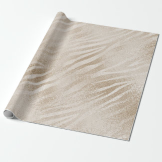 Pearly Titanium Ivory Animal Skin Glass Shiny Glam Wrapping Paper