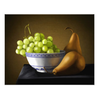 Pears and Grapes Fruit Bowl Still Life Photo Print