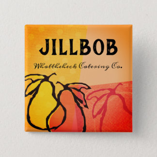 Pears fruit cooking class bakery catering name tag 2 inch square button