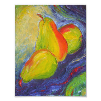 Pears on Dark Blue Background Fine Art Poster Photographic Print